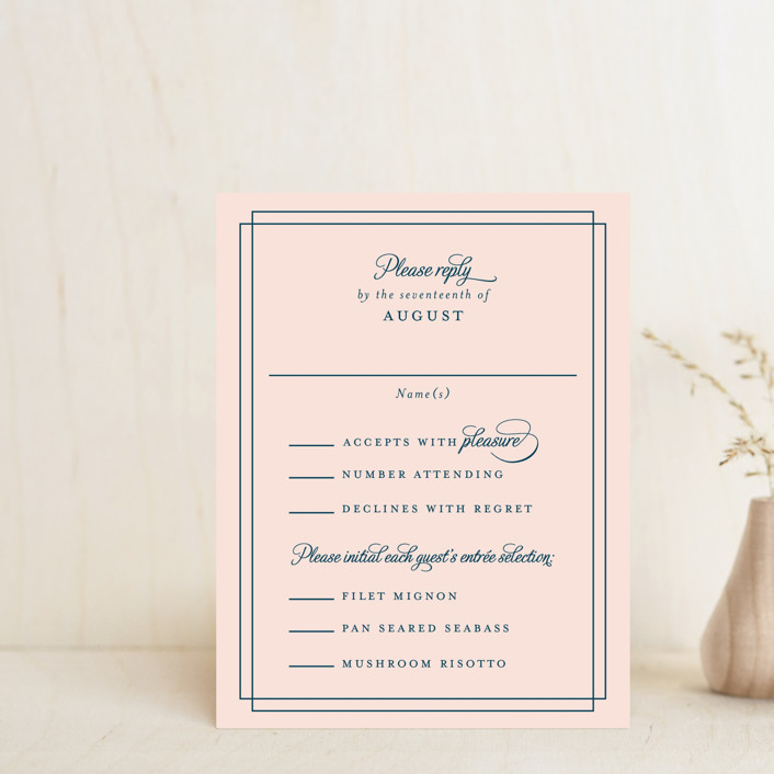 """Chic Gala"" - Classical, Traditional Rsvp Cards in Cotton Candy by Kimberly FitzSimons."