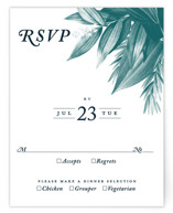 This is a blue rsvp card by GeekInk Design called Moonlit Garden with standard printing on signature in standard.
