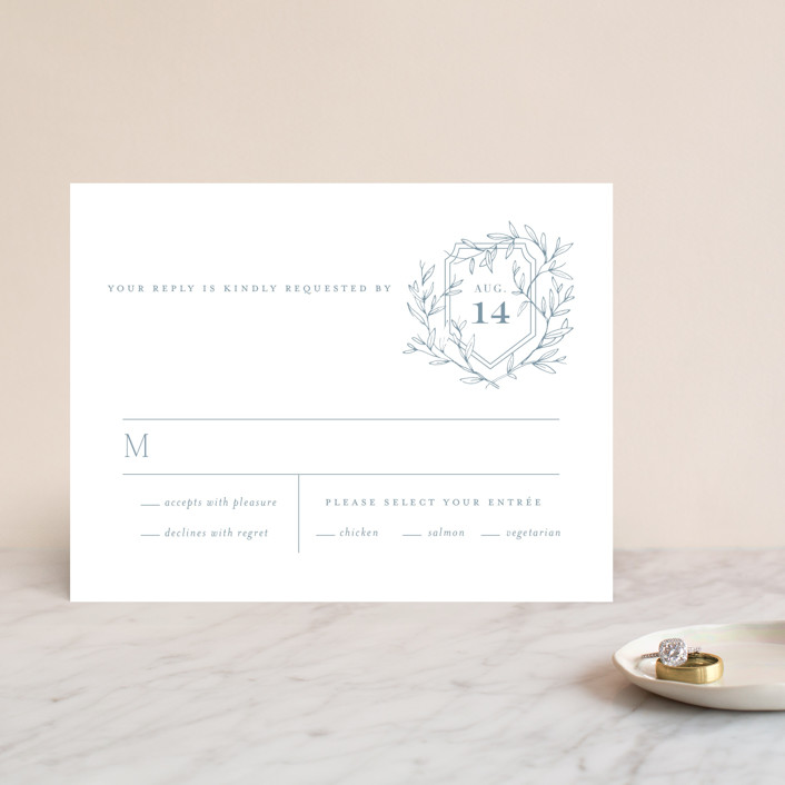 """""""Love Beyond Measure"""" - Rsvp Cards in Mineral by Oscar & Emma."""