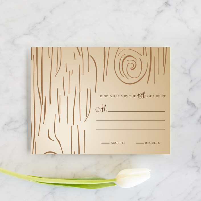 """""""Fall Carving"""" - Rustic, Whimsical & Funny Rsvp Cards in Woodgrain by Amanda Joy."""