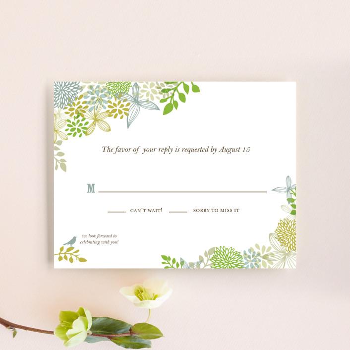 """""""Fling"""" - Floral & Botanical, Rustic Rsvp Cards in Leaf by Andrea Mentzer."""