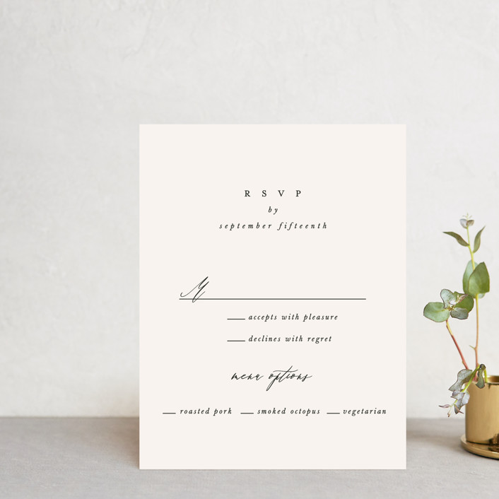 """Timeless"" - Rsvp Cards in Taupe by Leah Bisch."