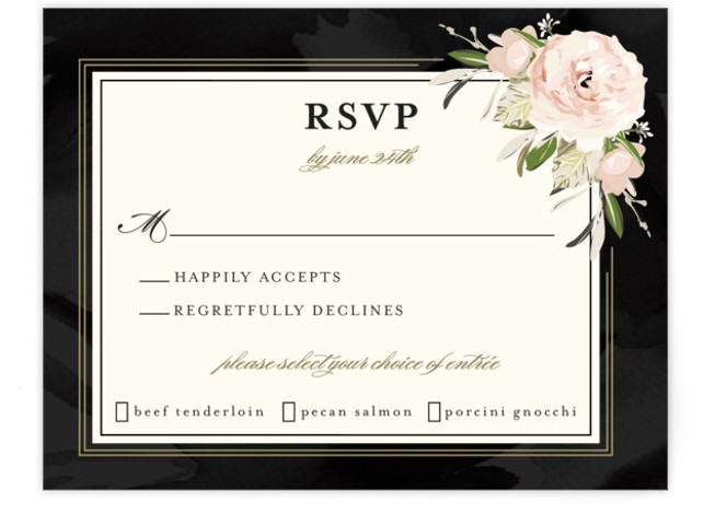 This is a botanical, painterly, black, pink RSVP Cards by Susan Moyal called Forever with Standard printing on Signature in Card Flat Card format. This wedding invitation features a frame of peonies