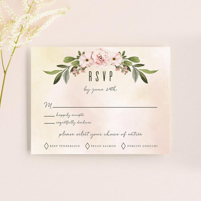 """Diamond Blush"" - Rsvp Cards in Rose by Susan Moyal."