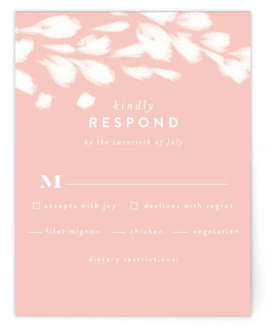This is a botanical, painterly, black RSVP Cards by Angela Marzuki called spring dream with Standard printing on Signature in Card Flat Card format. My own original artwork, full of bright color and clean type
