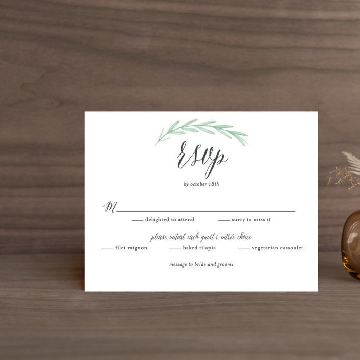 """""""Painted Leaves"""" - Rsvp Cards in Evergreen by Olivia Raufman."""