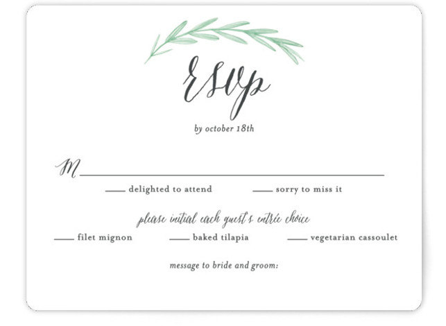 This is a landscape botanical, grey, pink, green RSVP Cards by Olivia Raufman called Painted Leaves with Standard printing on Signature in Card Flat Card format. A clean, organic invitation with watercolor leaves and classic type.