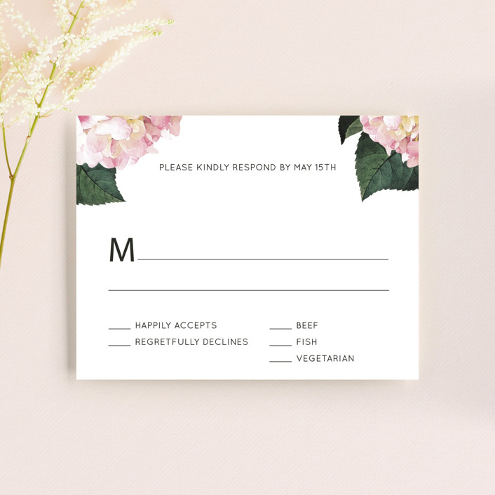 """""""Peonie Party"""" - Rsvp Cards in Noir by Baumbirdy."""