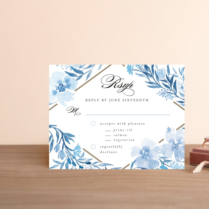 """Poetic Blue"" - Floral & Botanical Rsvp Cards in Sky by Qing Ji."