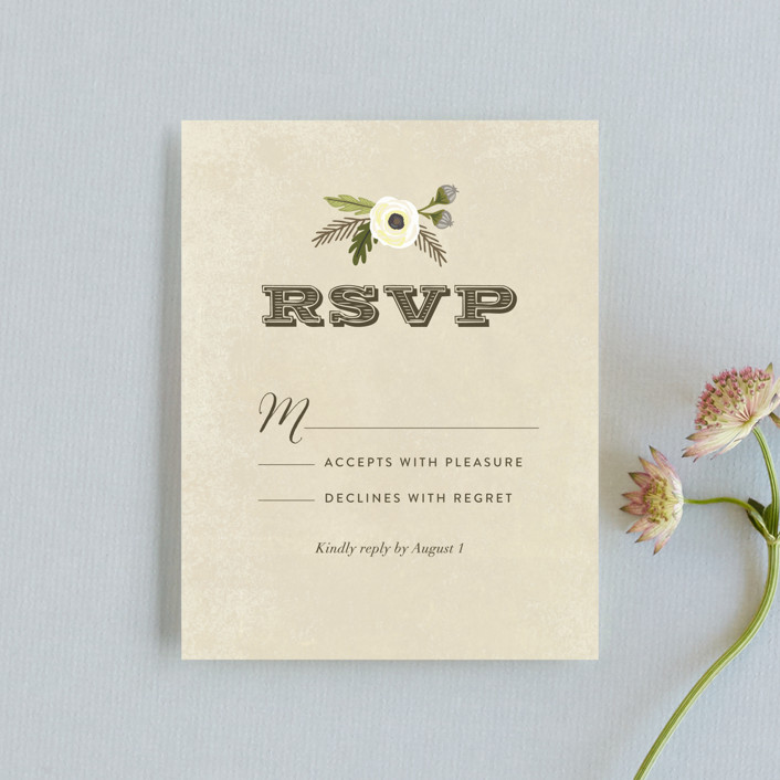 """""""Boheme"""" - Rustic Rsvp Cards in Marigold by Griffinbell Paper Co.."""