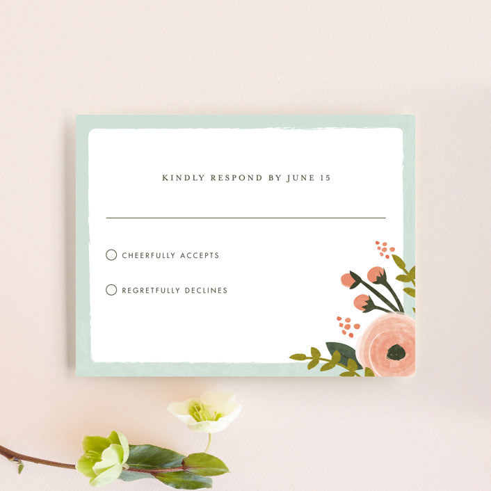 """""""English Floral Garden"""" - Floral & Botanical Rsvp Cards in Peony by Karidy Walker."""