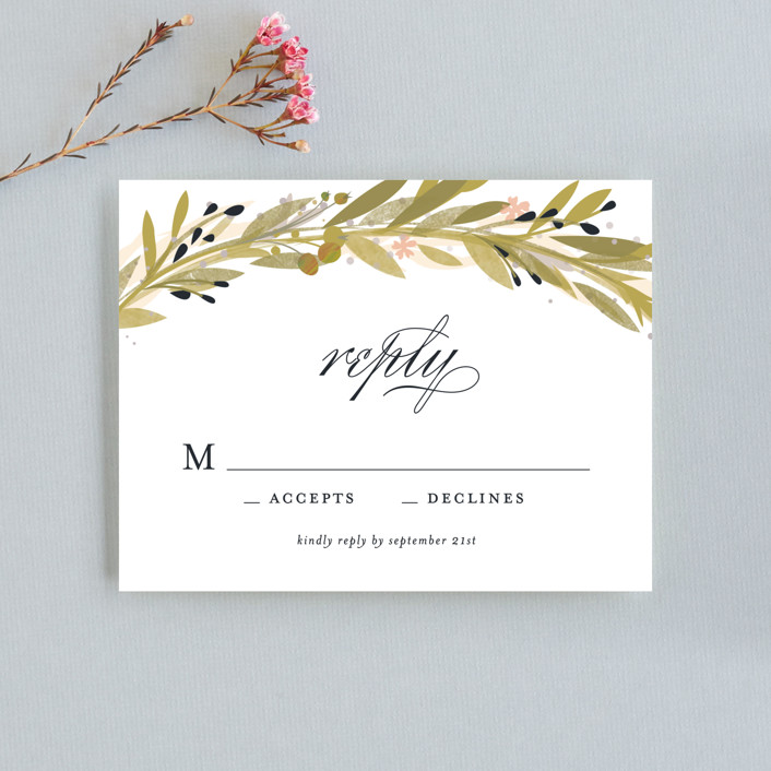 """Floral Crown"" - Rustic Rsvp Cards in Navy by Lori Wemple."