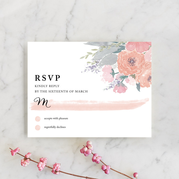 """""""fresh watercolor floral"""" - Floral & Botanical, Hand Drawn Rsvp Cards in Peach by Qing Ji."""