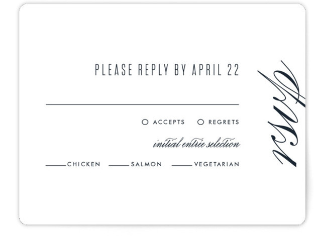 This is a simple and minimalist, blue RSVP Cards by Ink and Letter called Swoop with Standard printing on Signature in Card Flat Card format. This design is minimal and elegant with subtle typography and lots of white space.