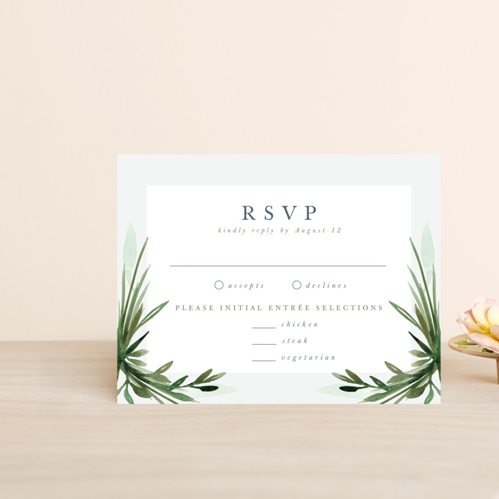 """Botanical Frame"" - Rsvp Cards in Fern by Kate Ahn."