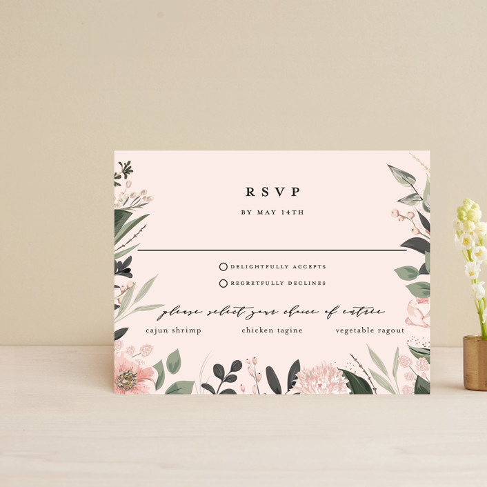 """""""Ivory Ring"""" - Rsvp Cards in Blush by Susan Moyal."""