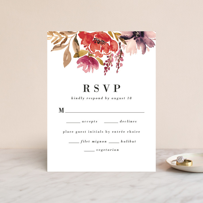 """Autumn Vows"" - Rsvp Cards in Burnt Orange by Chris Griffith."