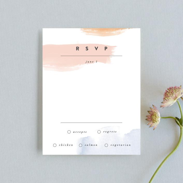 """Watercolor Wisp"" - Modern Rsvp Cards in Blush by Ariel Rutland."