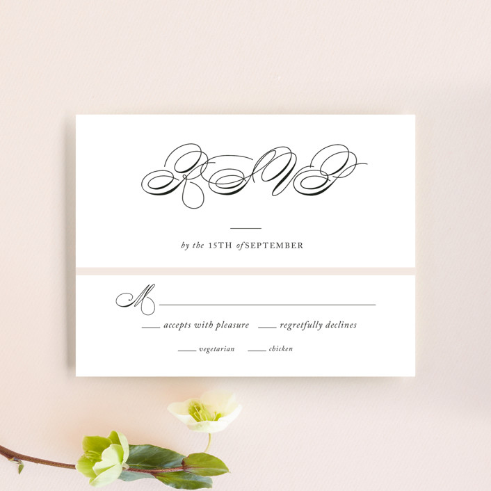 """""""Darling and Dashing"""" - Preppy Rsvp Cards in Blush by Alston Wise."""
