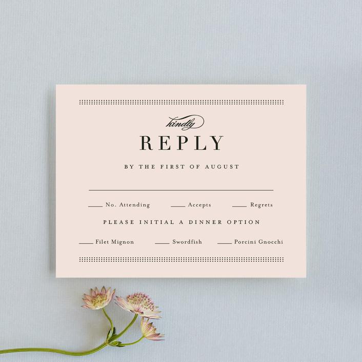 """Formal ampersand"" - Preppy Rsvp Cards in Blush by Jennifer Wick."