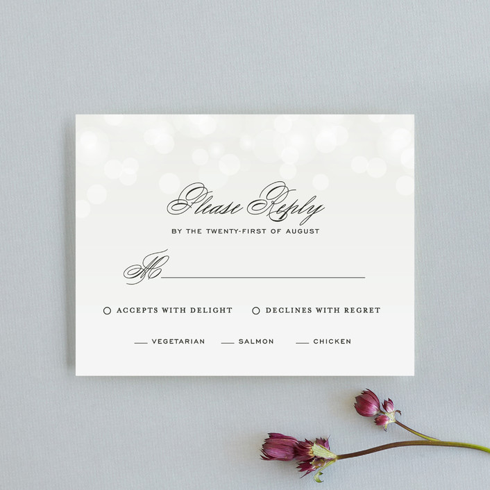 """""""Starry Eyed"""" - Elegant, Classical Rsvp Cards in Cloud by Design Lotus."""
