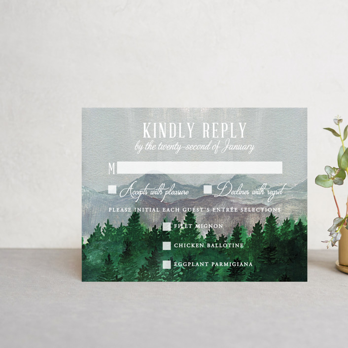 """""""Adventure Awaits"""" - Rustic Rsvp Cards in Smoke by Elly."""