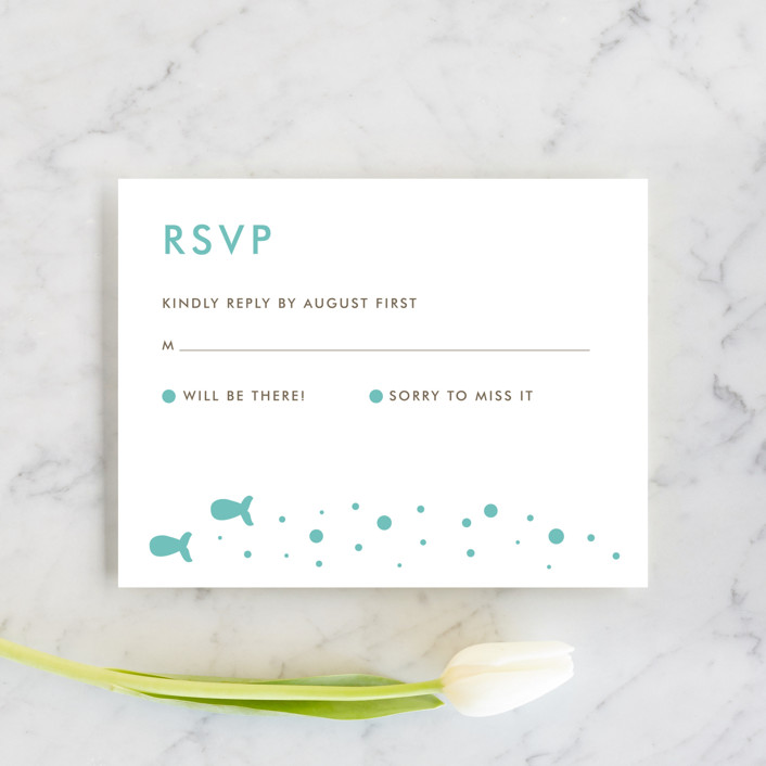 """Only Fish for Me"" - Whimsical & Funny Rsvp Cards in Tropical Sea by Ling Wang."