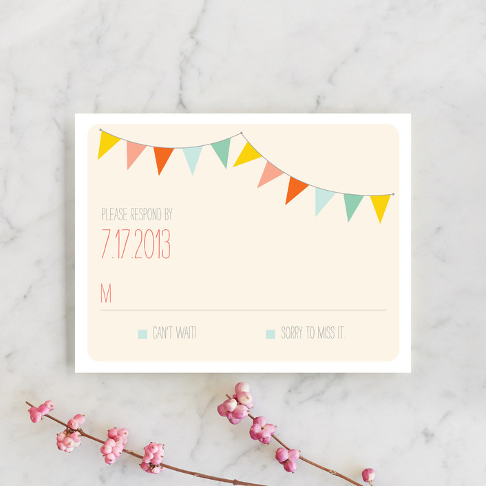 """Barn Party!"" - Rustic, Whimsical & Funny Rsvp Cards in Peach by ZucchiniPress."