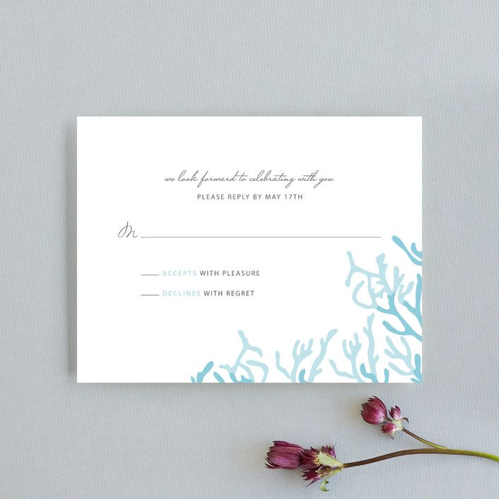 """Simple Coral"" - Rsvp Cards in Aqua Blue by SimpleTe Design."