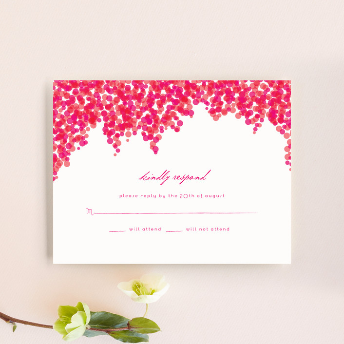 """Bougainvillea"" - Rsvp Cards in Bright Fuchsia by Laura Hankins."