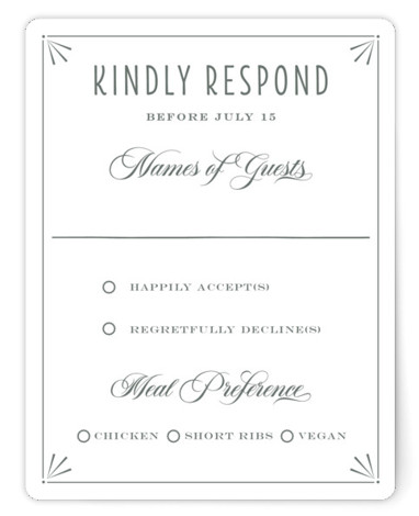 This is a vintage, grey RSVP Cards by Bonjour Paper called Nouvelle Ere with Standard printing on Signature in Card Flat Card format. Vintage Modern wedding invitation