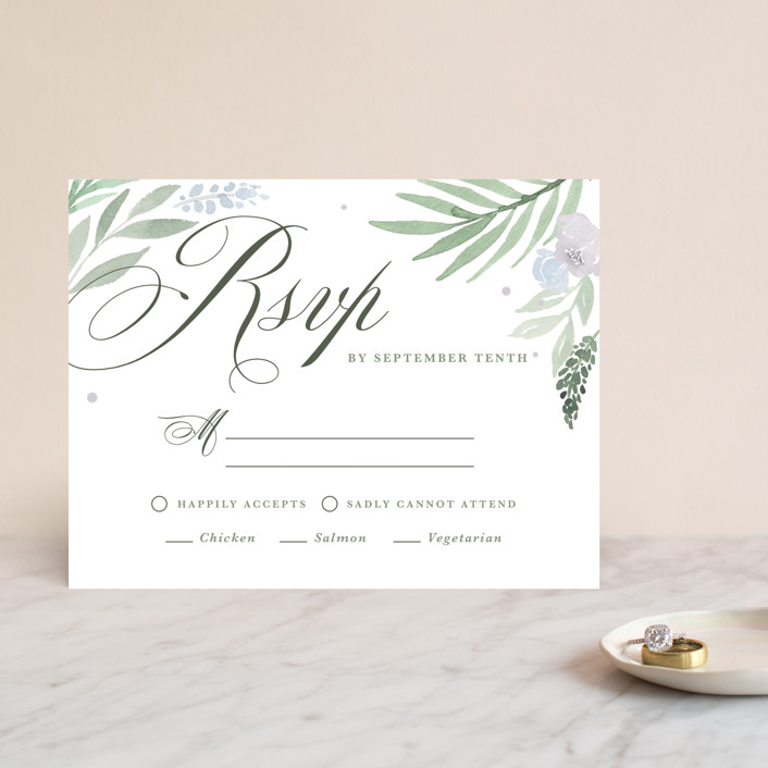 """""""Botanical Seal"""" - Rsvp Cards in Pastel by Kristen Smith."""