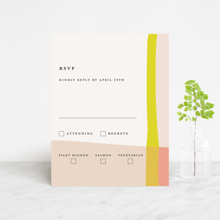 """""""Color Block"""" - Modern Rsvp Cards in Blush by Morgan Kendall."""