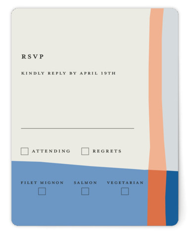 This is a modern, painterly, blue, orange RSVP Cards by Morgan Kendall called Color Block with Standard printing on Signature in Card Flat Card format. A graphic and modern wedding invitation featuring bold blocks of color in an artistic layout. ...