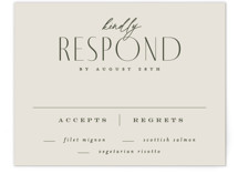 This is a beige rsvp card by Everett Paper Goods called Moderne with standard printing on signature in standard.