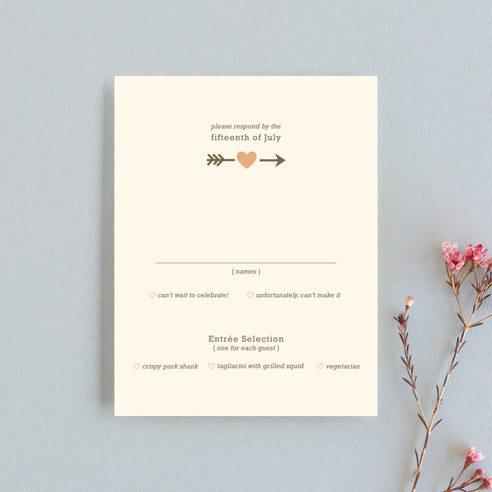 """Love Struck"" - Whimsical & Funny Rsvp Cards in Pale Salmon by The Social Type."