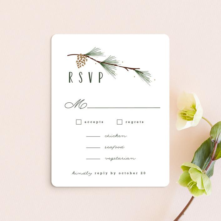 """""""Rustic Wedding"""" - Rustic Rsvp Cards in Pine by Susan Brown."""