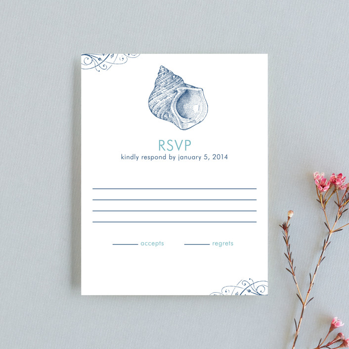 """By The Sea"" - Rsvp Cards in Columbia Blue by Splendid Press."