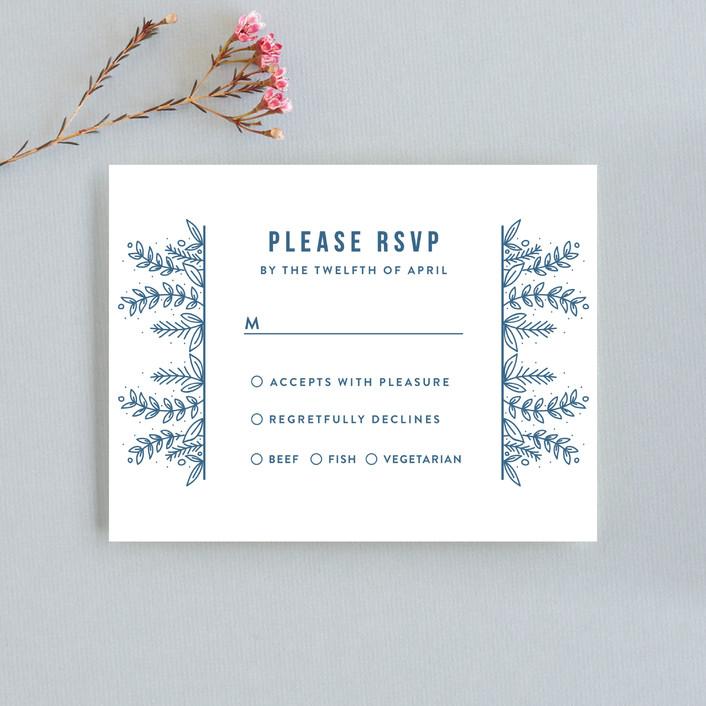 """Botanical"" - Rsvp Cards in Cobalt by Bethan."