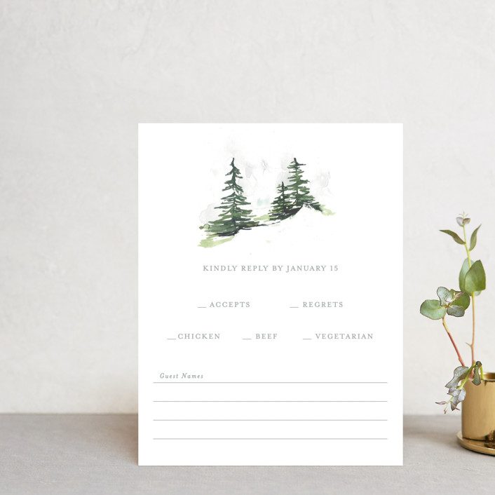 """""""On the Slopes"""" - Rustic Rsvp Cards in Fog by Mere Paper."""