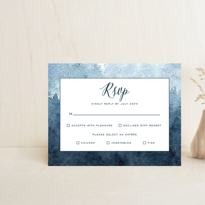 """""""Mountain Retreat"""" - Rustic Rsvp Cards in Evening Sky by Design Lotus."""