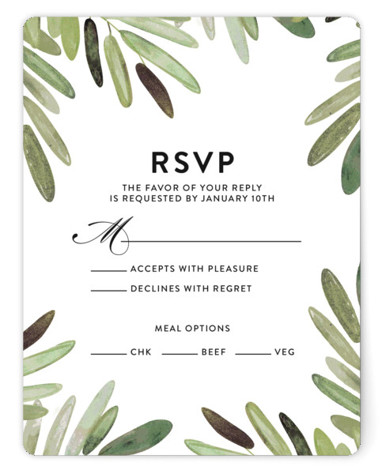 This is a portrait botanical, black RSVP Cards by Haley Warner called Parting Branches with Standard printing on Signature in Card Flat Card format. Watercolor branches and clean type set the tone for a modern wedding with tropical flair.