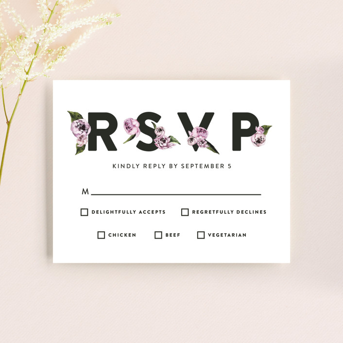 """Peony"" - Rsvp Cards in Ice Mist by Cass Loh."