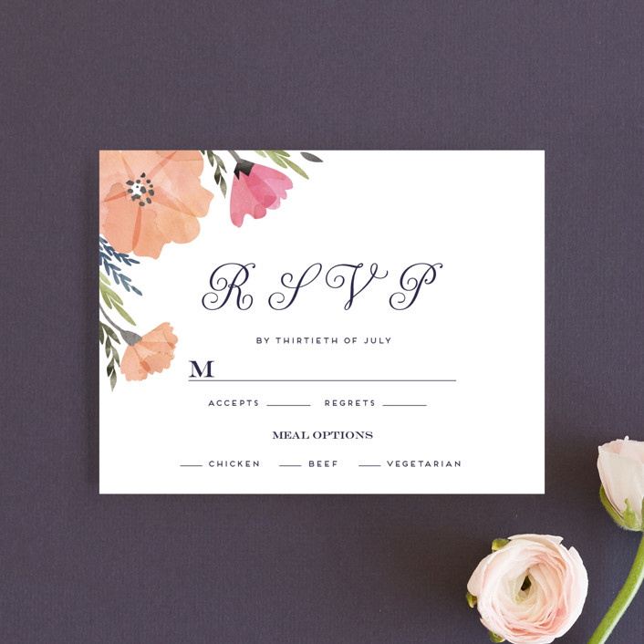 """""""Romantic Watercolor Flora"""" - Rsvp Cards in Dhalia by Petra Kern."""