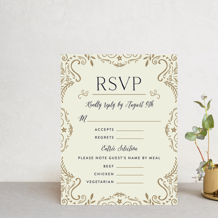 """Wedding Enchantment"" - Vintage Rsvp Cards in Midnight by Chris Griffith."