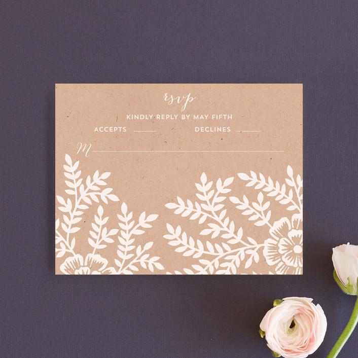 """Leaves and Kraft"" - Rustic, Floral & Botanical Rsvp Cards in Kraft by Katharine Watson."