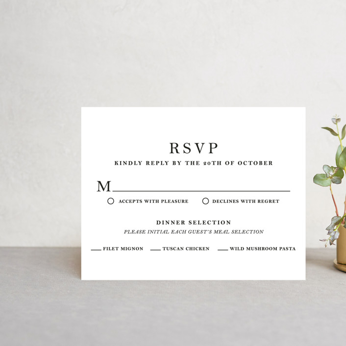 """""""Sophistotype"""" - Rsvp Cards in Sea Salt by Snow and Ivy."""