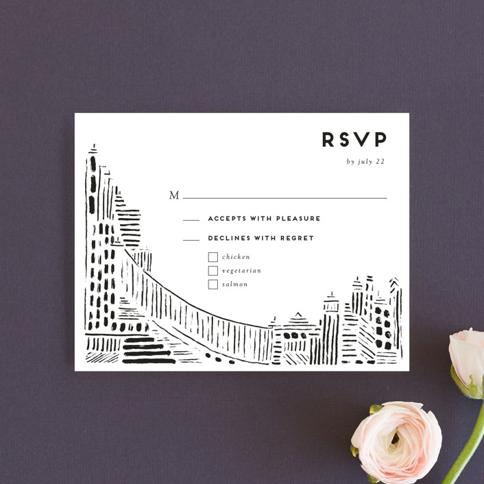 """""""Love In The City"""" - Rsvp Cards in Pearl by Shiny Penny Studio."""
