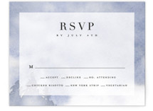 This is a blue rsvp card by Stacey Meacham called Misty trees with standard printing on signature in standard.