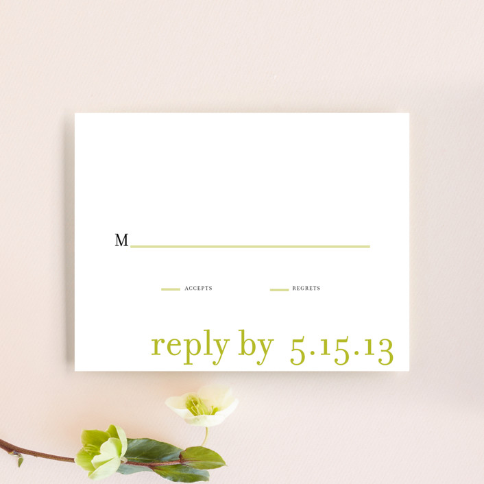 """float + celebrate"" - Simple Rsvp Cards in Celery by Float Paperie."